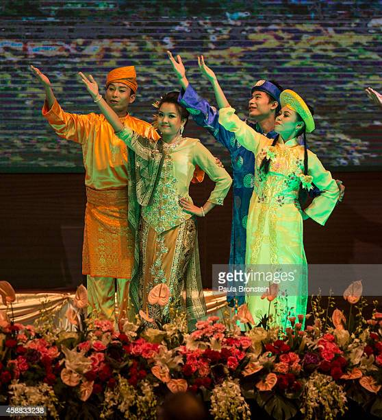 A cultural performance at the Opening Ceremony of the ASEAN summit on November 12 2014 in Naypyidaw Myanmar Myanmar's capitol Naypyidaw is hosting...