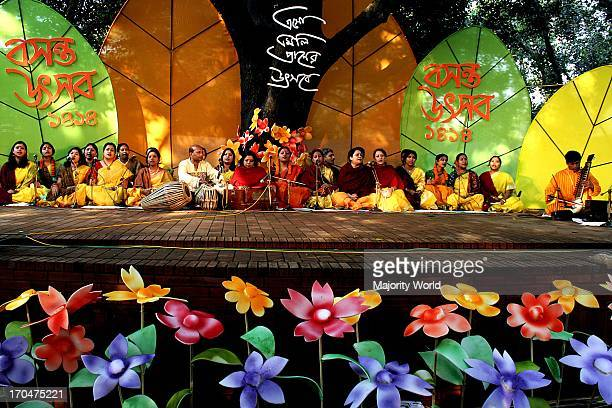 A cultural program marking Basanta Utsav or Basanta festival to celebrate the Bengali month of Falgoon at the Institute of Art of Dhaka University in...