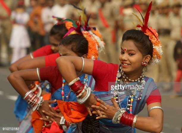Cultural troop practicing Odisha's traditional tribal culture dances and ancient warrior dances in the full dress or final rehearsal on the eve of...