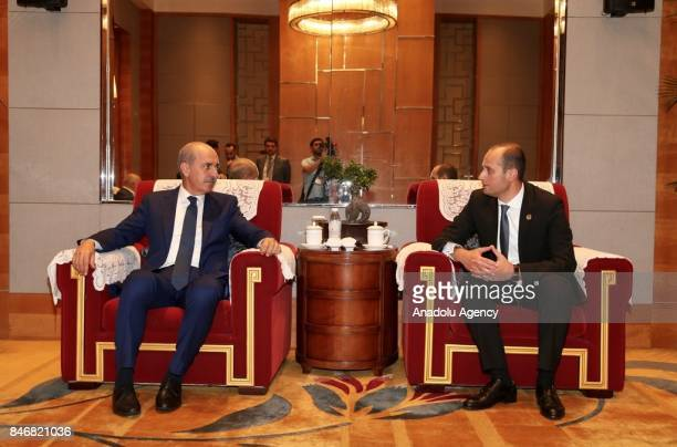 Culture and Tourism Minister of Turkey, Numan Kurtulmus meets with Georgian Foreign Minister Mikheil Janelidze in city of Chengdu of Sichuan...