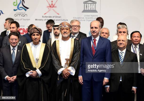 Culture and Tourism Minister of Turkey Numan Kurtulmus poses for a family photo along with other participants ahead of second UNWTO/UNESCO World...