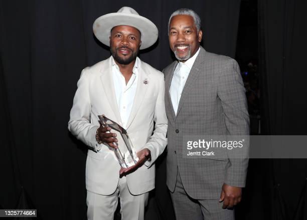 "Culture Creatos Innovator of the Year award recipient Derrick ""D-Nice"" Jones and Royale Watkins pose backstage at the Culture Creators Innovators &..."