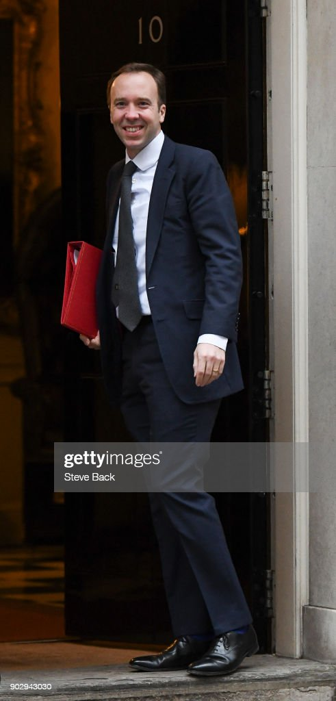 Culture, Media and Sports Secretary Matt Hancock arrives as government ministers attend the first Cabinet meeting of the year at 10 Downing Street on January 9, 2018 in London, England.