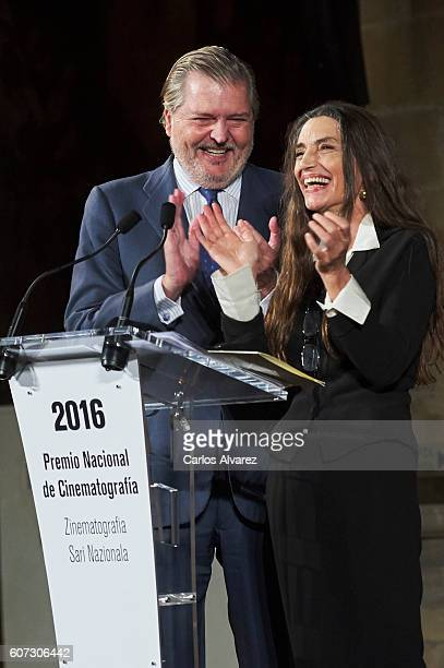 Culture Minister Inigo Mendez De Vigo delivers National Cinematography Award to Spanish actress Angela Molina on September 17 2016 in San Sebastian...