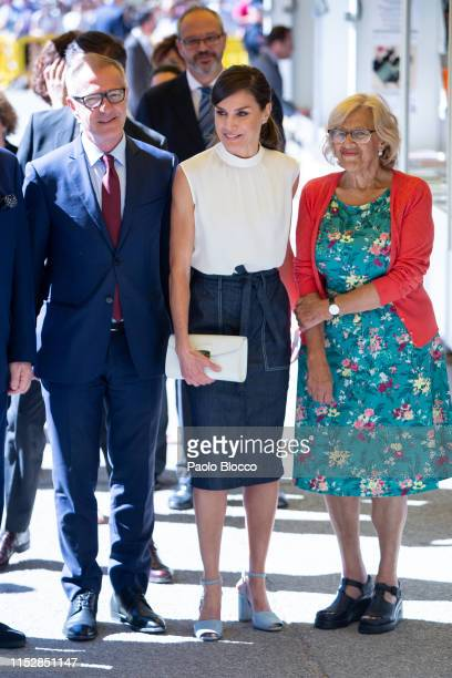 Culture minister Jose Guirao, Queen Letizia of Spain and Mayor of Madrid Manuela Carmena attend the opening of Madrid Book Fair on May 31, 2019 in...