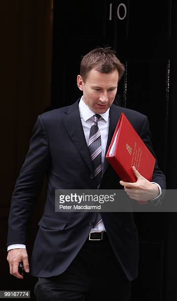 Culture Secretary Jeremy Hunt leaves Number 10 Downing Street after attending his first full Cabinet meeting on May 13, 2010 in London, England. New...