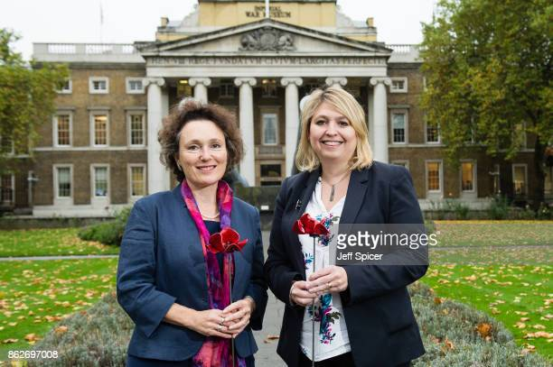 Culture Secretary Karen Bradley with Jenny Waldman announces the final venues chosen to host the iconic poppy Sculptures 'Wave' and 'Weeping Window'...