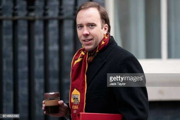 Culture Secretary Matthew Hancock arrives on Downing Street for the weekly cabinet meeting on February 27 2018 in London England