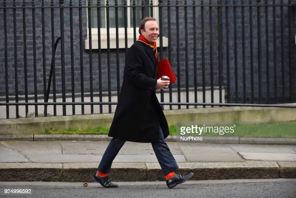 Culture Secretary Matthew Hancock leaves Number 10 Downing Street following the weekly cabinet meeting on February 27 2018 in London England