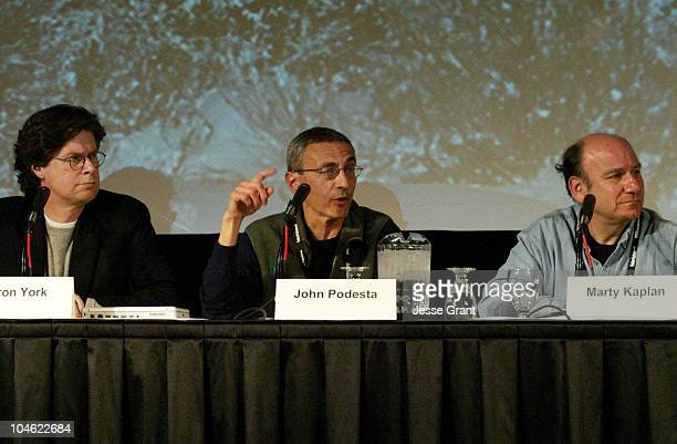 Culture Wars panelists Bryan York John Podesta and Marty Kaplan