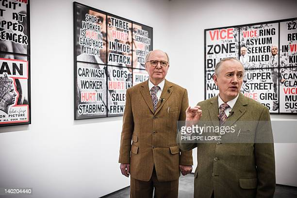 STORY CultureBritainHongKongartpeopleGilbertGeorgeINTERVIEW by Stephen COATES Gilbert and George stand in front of their latest artwork at the White...