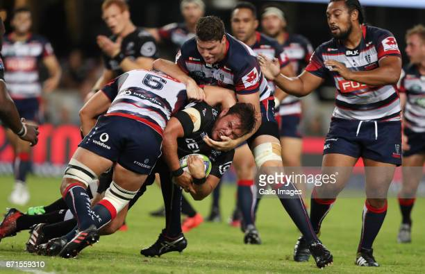 Culum Retallick of the Melbourne Rebels tackling Franco Marais of the Cell C Sharks during the Super Rugby match between Cell C Sharks and Rebels at...