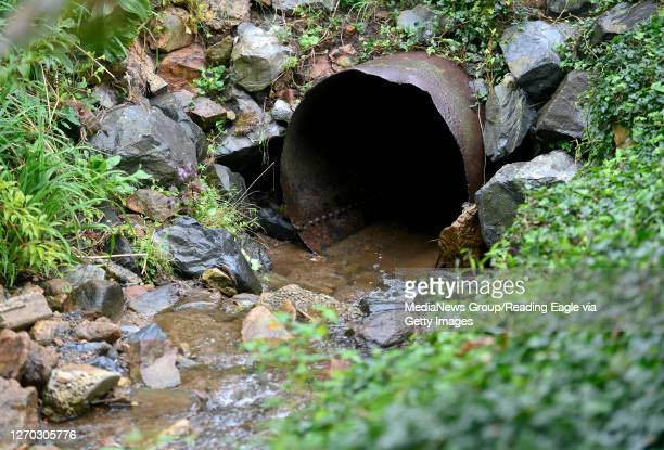 Culvert for a stream behind a house along Park Lane. During heavy rain high volumes of water flow through the area. In Lower Alsace Township, PA...