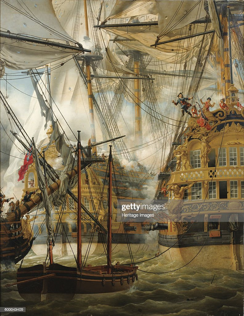 HMS Cumberland fighting against the Le Lys and La Gloire, 1827 : Foto jornalística