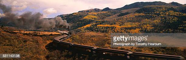 cumbres and toltec railroad steam train traveling through the mountains near chama - timothy hearsum ストックフォトと画像