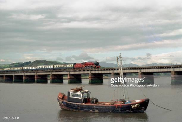 Cumbrian Coast Express Eskmeals Viaduct as ex LMS 460 No 5690 Leander crosses the river Esk United Kingdom