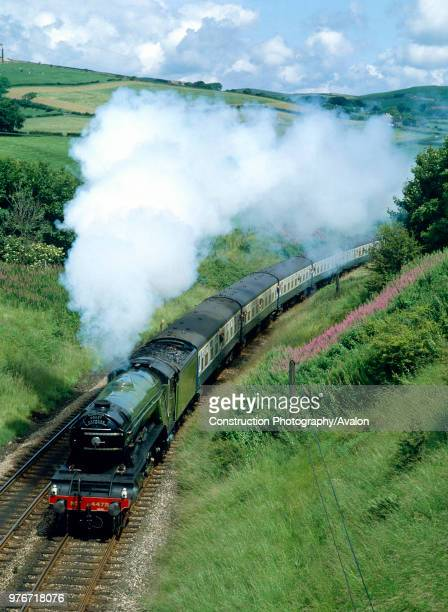 Cumbrian Coast Express No 4472 Flying Scotsman climbs Lindal Bank at Pennington en route for Dalton United Kingdom