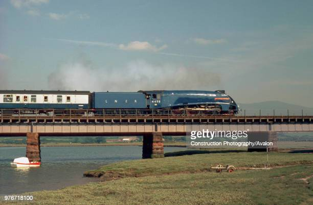 Cumbrian Coast Express No 4498 Sir Nigel Gresley heads south over the river Esk from Sellafield to Carnforth United Kingdom