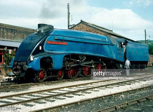 Cumbrian Coast Express No 4498 Sir Nigel Gresley poses at Carnforth United Kingdom