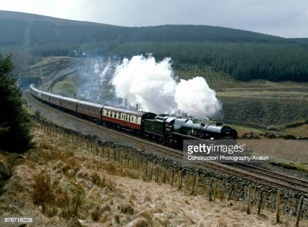 Cumbrian Mountain Express No 35028 Clan Line leaves Blea Moor Tunnel en route from Hellifield to Carlisle United Kingdom