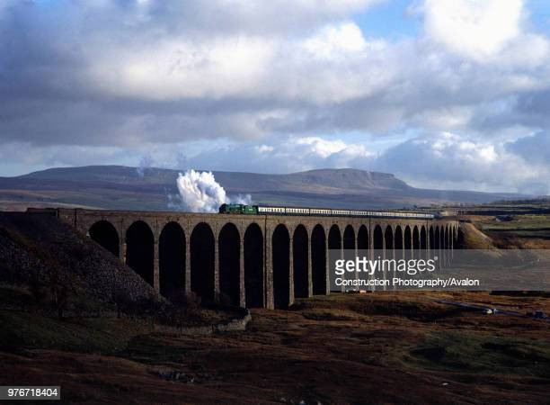 Cumbrian Mountain Express No 850 Lord Nelson crosses Ribblehead Viaduct heading north United Kingdom