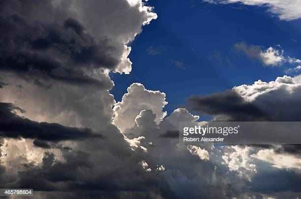 Cumulonimbus clouds form in the sky over Northern New Mexico