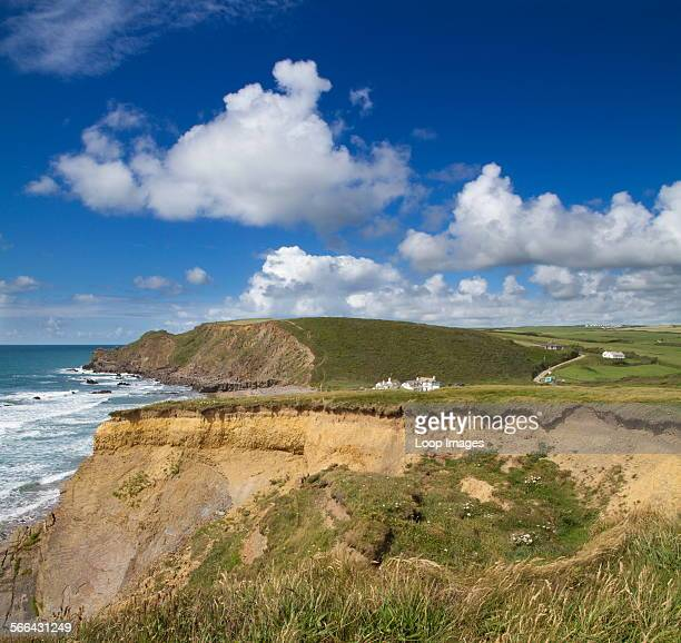 Cumulus clouds against a blue sky above Northcott Bay near Bude in North Cornwall