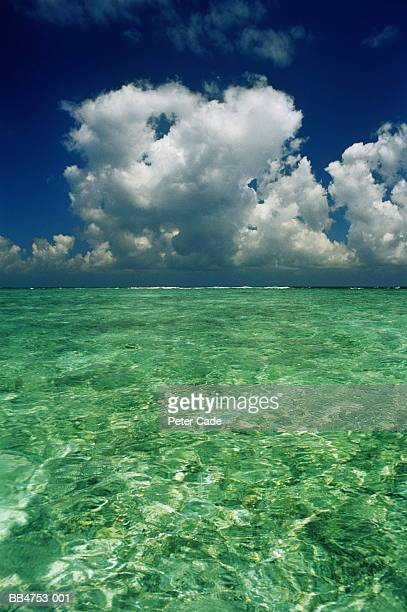 Cumulus clouds gathering over clear blue ocean