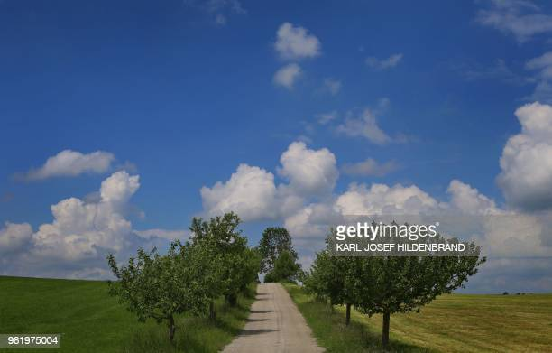 Cumulus clouds hang over the landscape in Marktoberdorf southern Germany on May 23 2018 / Germany OUT