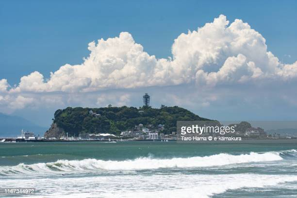cumulus clouds on enoshima island in fujisawa city of kanagawa prefecture, japan - kanagawa prefecture stock pictures, royalty-free photos & images