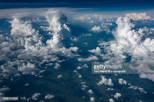 Cumulus clouds on Thailand daytime aerial view from airplane