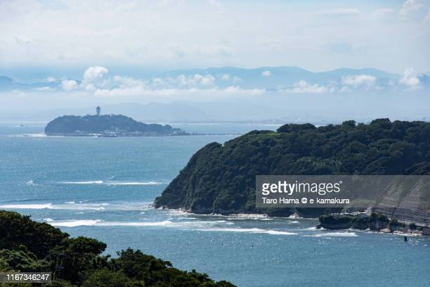 cumulus clouds on the mountain in kanagawa prefecture of japan - zushi kanagawa stock photos and pictures
