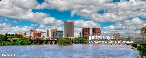 cumulus richmond skyline over the james river - richmond virginia stock pictures, royalty-free photos & images