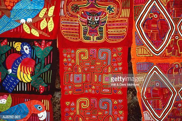 cuna indian mola textile, close-up,san blas,panama - mola stock pictures, royalty-free photos & images