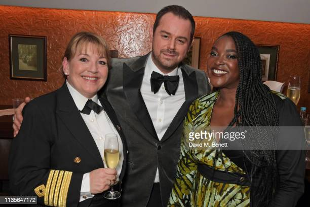Cunard Captain Inger Klein Thorhauge Danny Dyer and Wunmi Mosaku attend The Olivier Awards 2019 with Mastercard at The Royal Albert Hall on April 7...