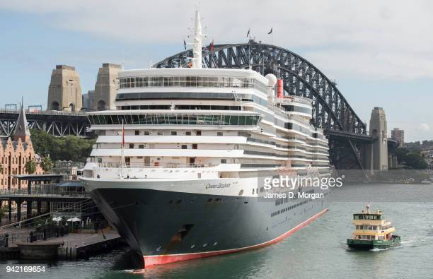 Cunard cruise ship Queen Elizabeth berthed at the Overseas Passenger terminal on February 27 2018 in Sydney Australia