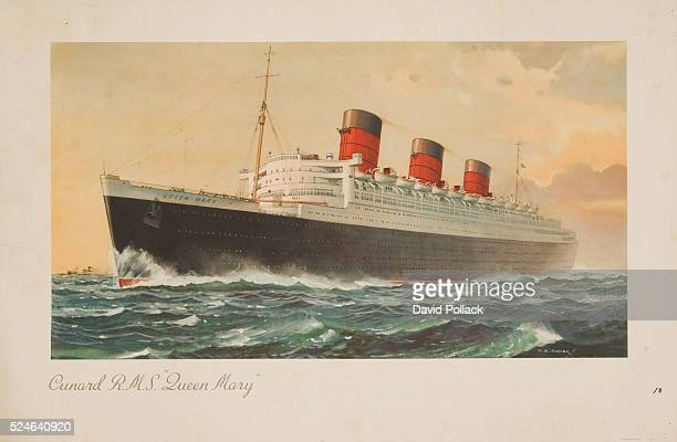 Cunard RMS Queen Mary Poster by Charles E Turner