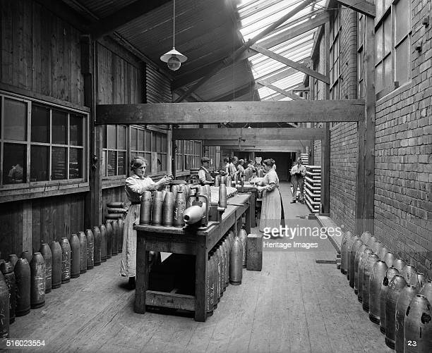 Cunard Shell Works Bootle Merseyside September 1917 Workers male and female finishing the interiors of shell cases in the Cunard Shell Works in...