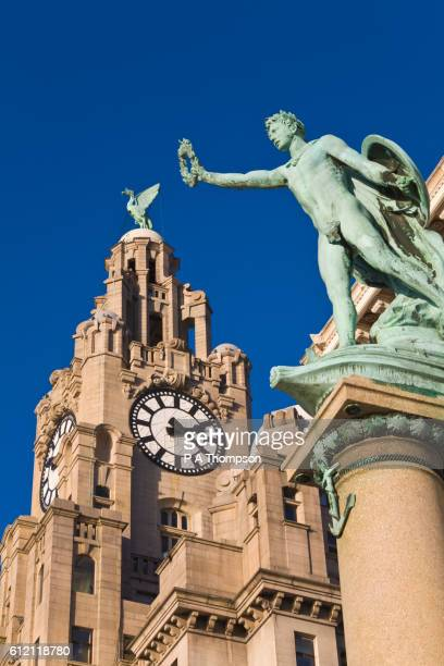 cunard war memorial and royal liver building clock tower - liverpool england stock pictures, royalty-free photos & images