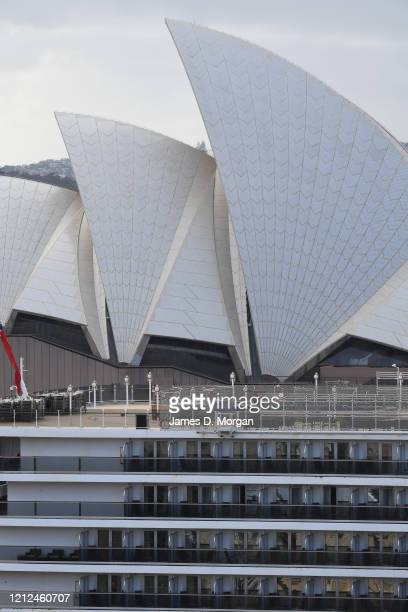 Cunard's cruise ship, Queen Elizabeth at the Overseas Passenger Terminal on March 15, 2020 in Sydney, Australia. Carnival Corp., Norwegian Cruise...
