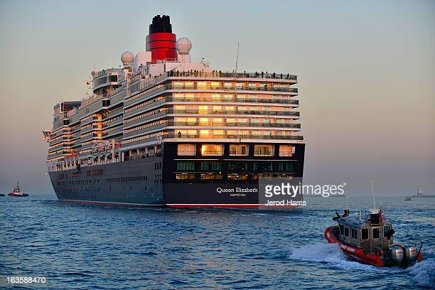 Cunard's Queen Elizabeth and Queen Mary make history in Long Beach Harbor at the Queen Mary on March 12 2013 in Long Beach California