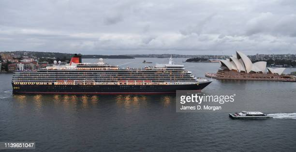 Cunard's Queen Elizabeth cruise ship departs from the Overseas Passenger Terminal at Circular Quay on April 01 2019 in Sydney Australia Following a...