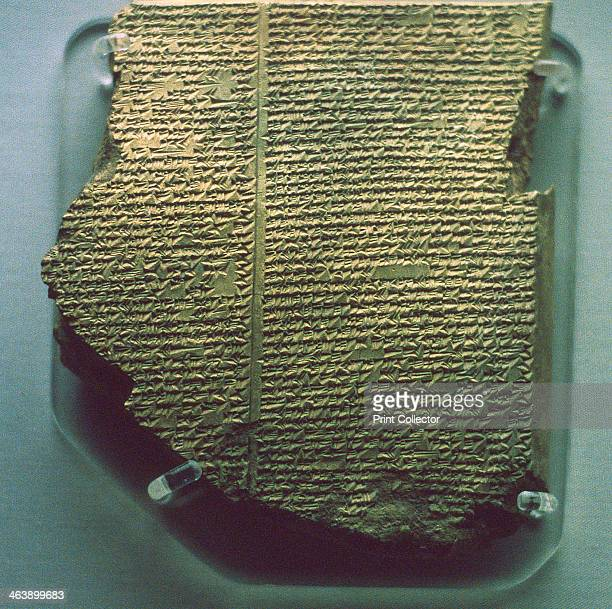 Cuneiform tablet relating part of the Epic of Gilgamesh, Neo-Assyrian, 7th century BC. A tablet from the library of the Assyrian King Ashurbanipal...