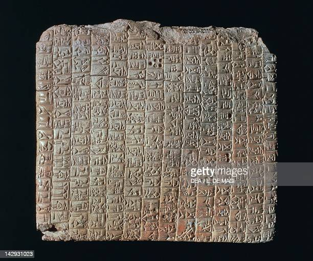 Cuneiform tablet showing a commercial treaty between Ebla and the city of Arbasal artefacts from the archives of Ebla Syria Assyrian civilisation 3rd...