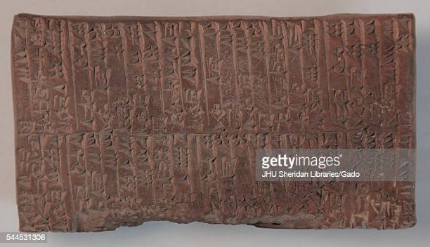 Cuneiform tablet which originally served as an administrative text documenting the transfer of goods from the Ur III Period 22002100 BCE currently in...
