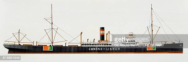 Cunene cargo ship Portugal drawing