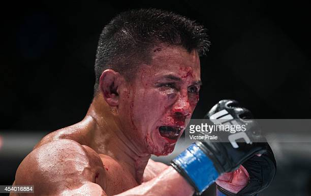Cung Le of USA bleeds on his 5-Round middleweight fight against Michael Bisping of England during the UFC Fight Night at The Venetian Macao Cotai...