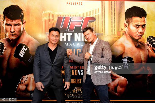 Cung Le with his opponenet Michael Bisping during the Macao UFC Fight Night Press Conference at the Four Season Hotel on June 24 2014 in Hong Kong...