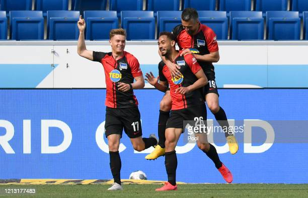 Cunha Matheus of Hertha BSC celebrates with Vedad Ibisevic and Maximilian Mittelstaedt after scoring his sides third goal during the Bundesliga match...