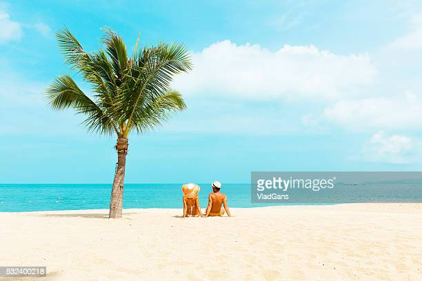 Palm tree stock photos and pictures getty images cuople at tropical beach voltagebd Image collections
